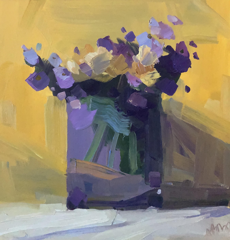 Purple and Yellow III, oil on panel.