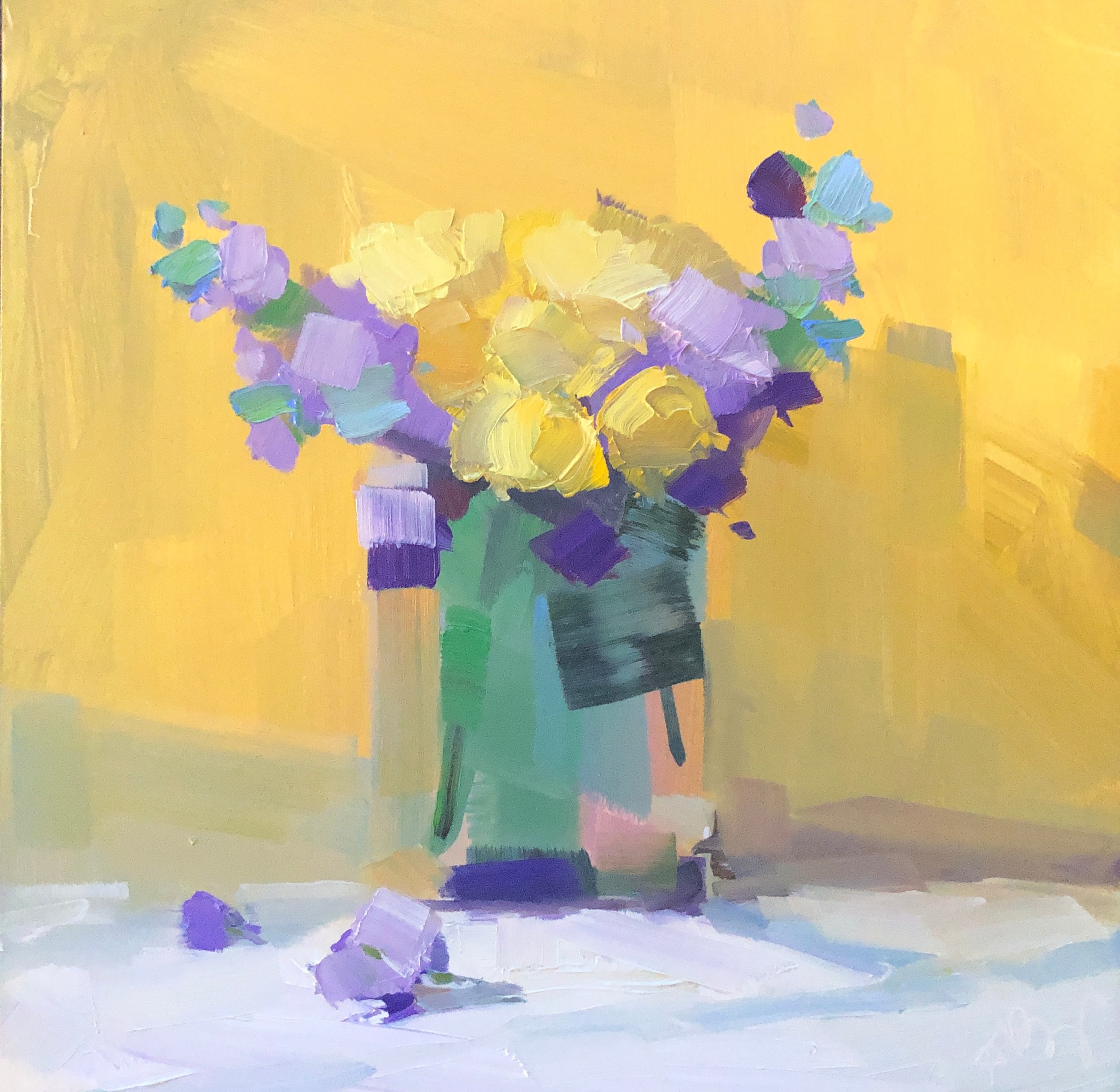 Purple and Yellow IV, 8 x 8, oil on panel.