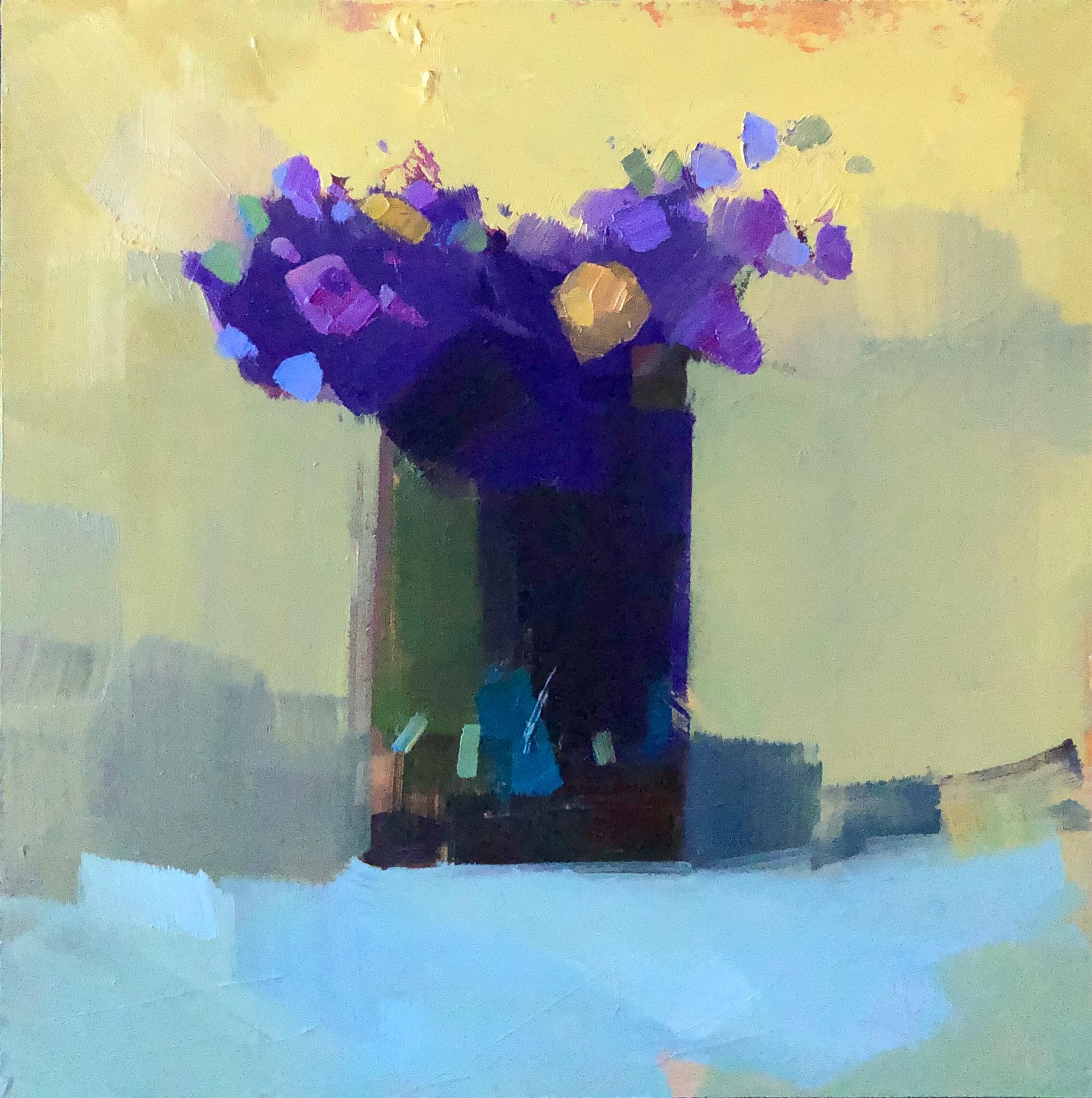 Purple and Yellow II, 8 x 8, oil on panel.
