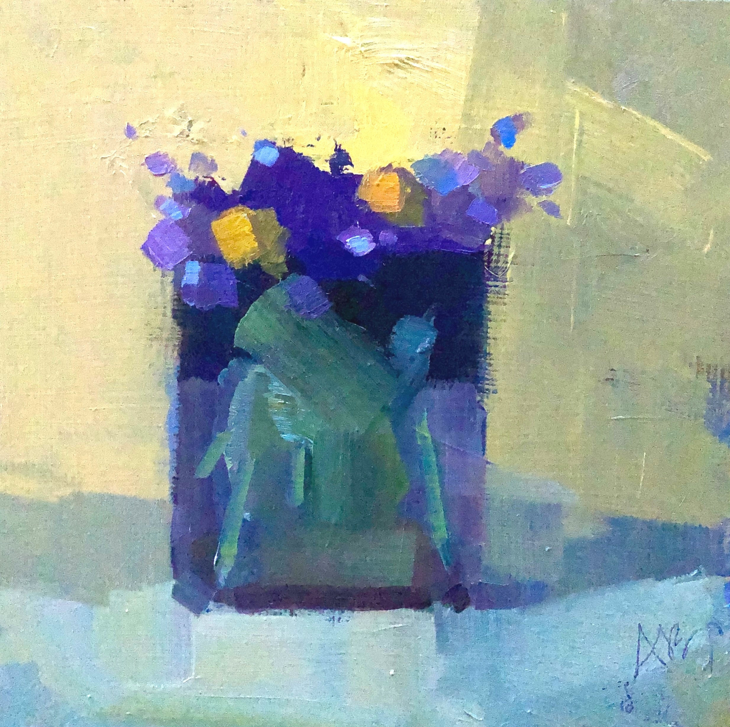 Purple and Yellow I, 8 x 8, oil on panel.