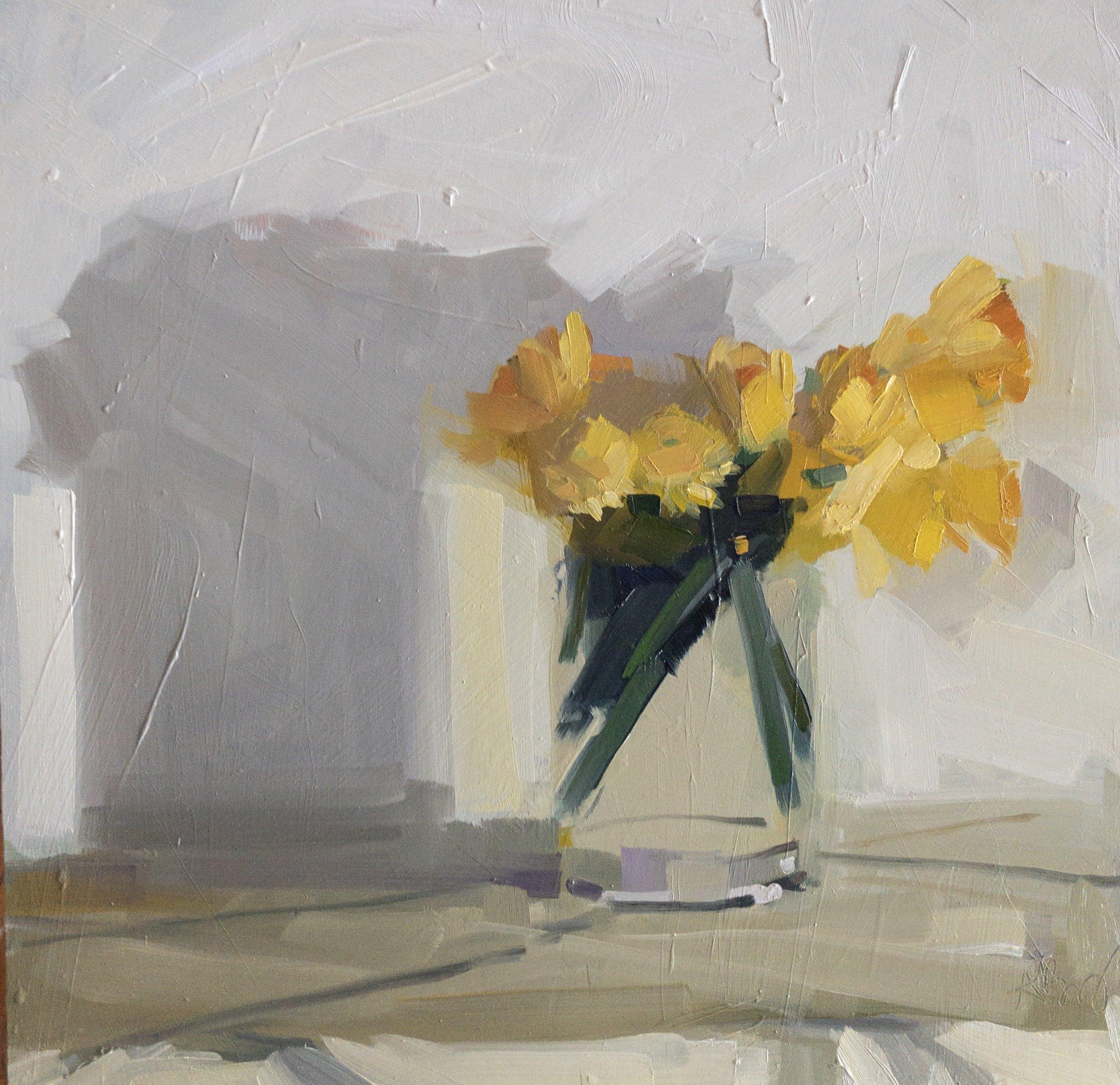 Daffodils 2, 14 x 14, oil on panel.