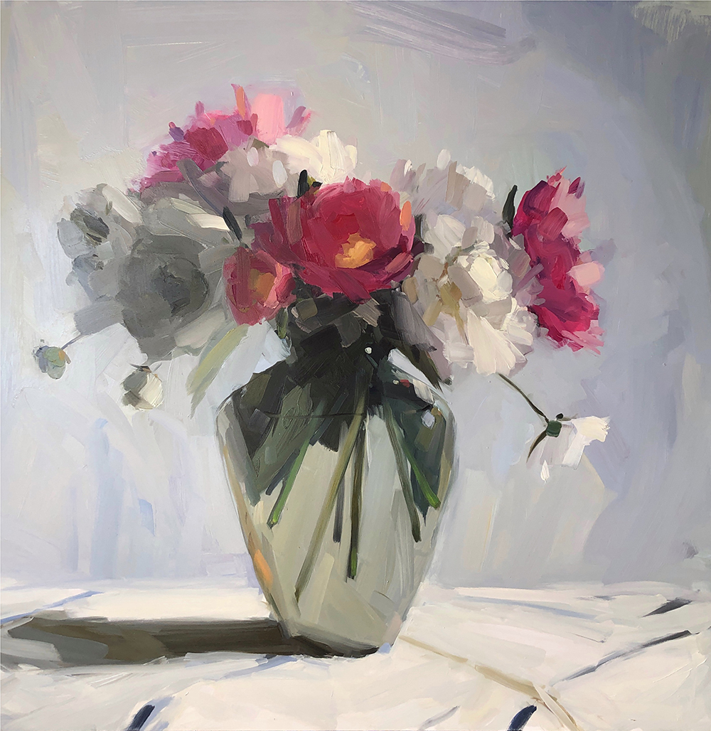 All the Peonies, 30 x 30, oil on panel.