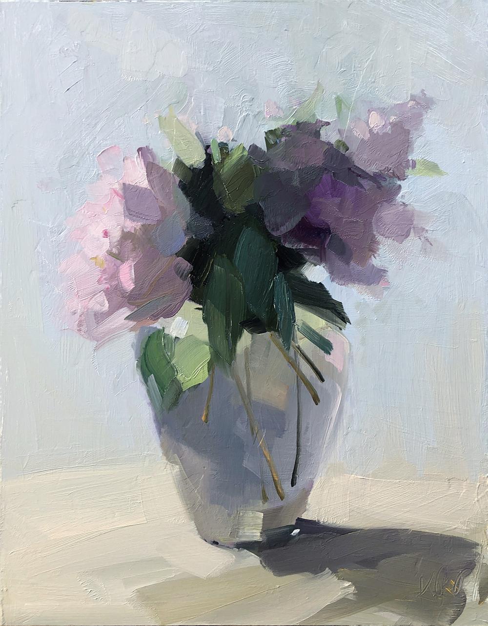 Peonies and Irises, 16 x 12, oil on panel.