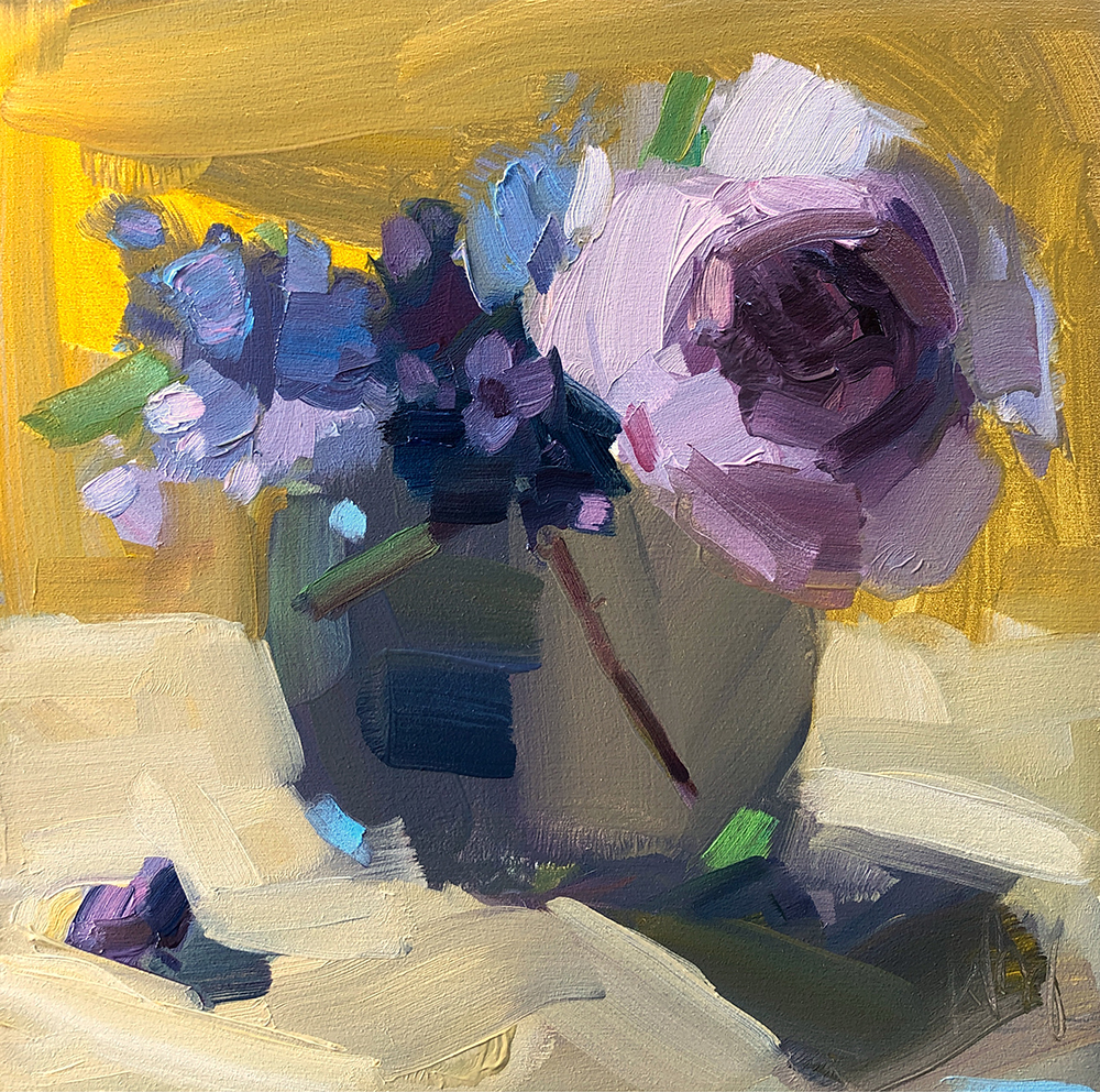 Speedy Peonies and Lilacs, 8 x 8, oil on panel.