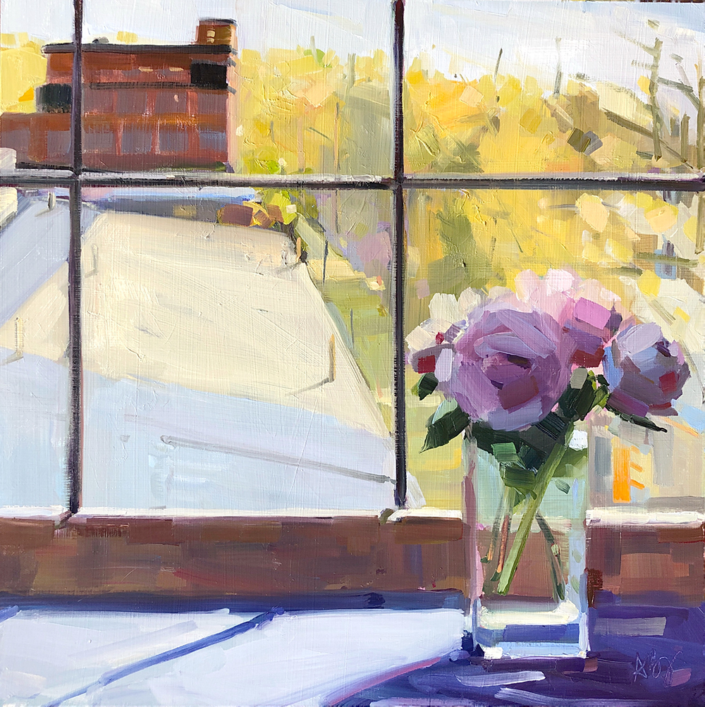 Peonies and Factory, 16 x 16, oil on panel.