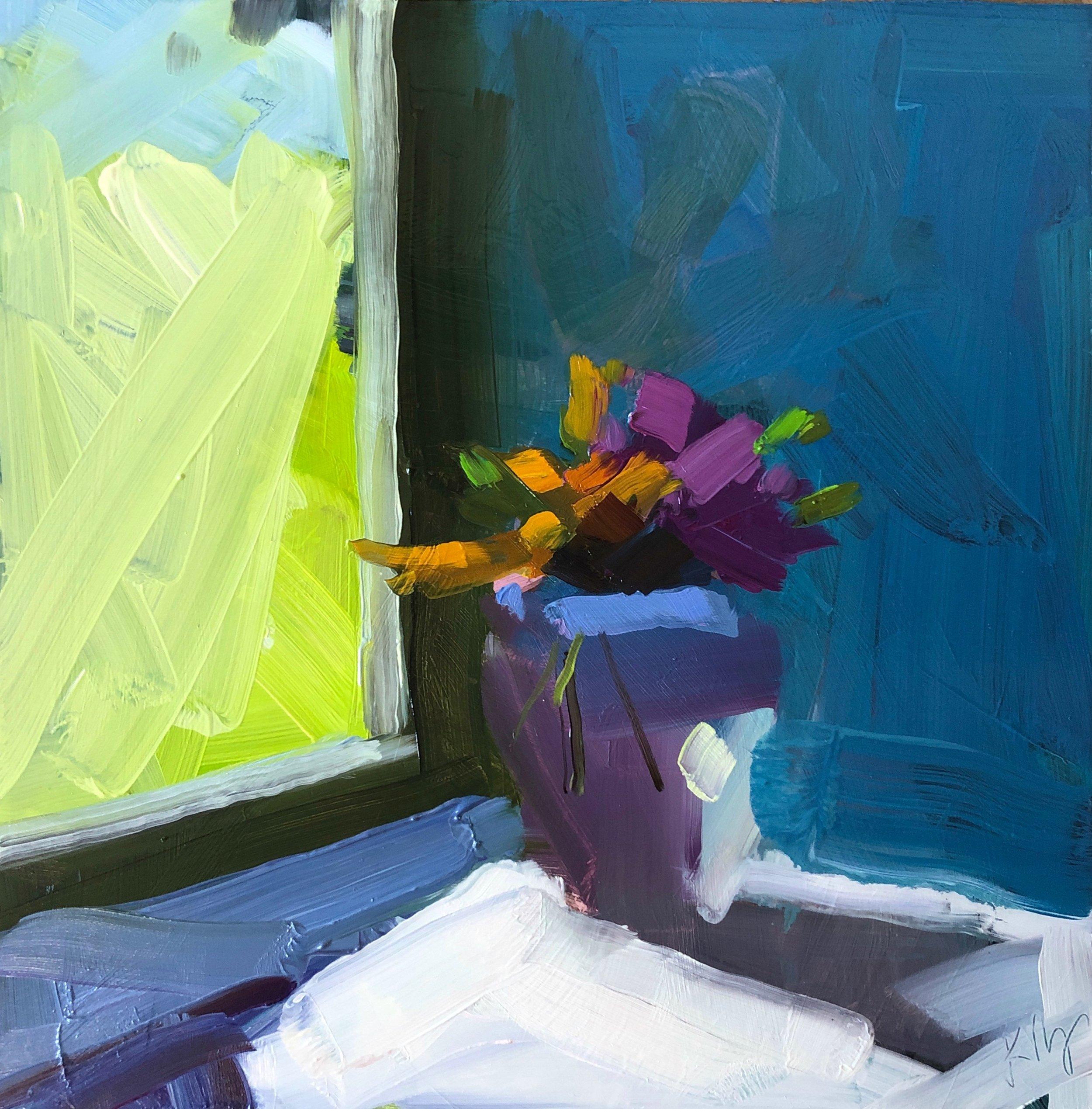 Summer Window, 8 x 8, oil on panel.