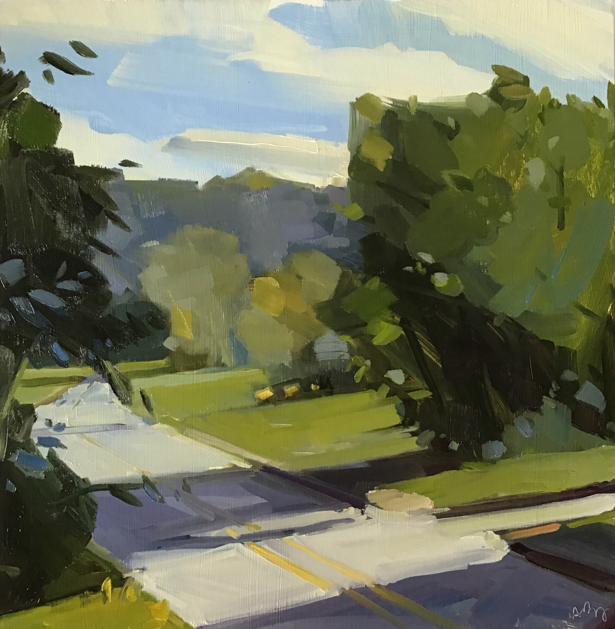 September 2, 8:30 am at Pease, 14 x 14, oil on panel.