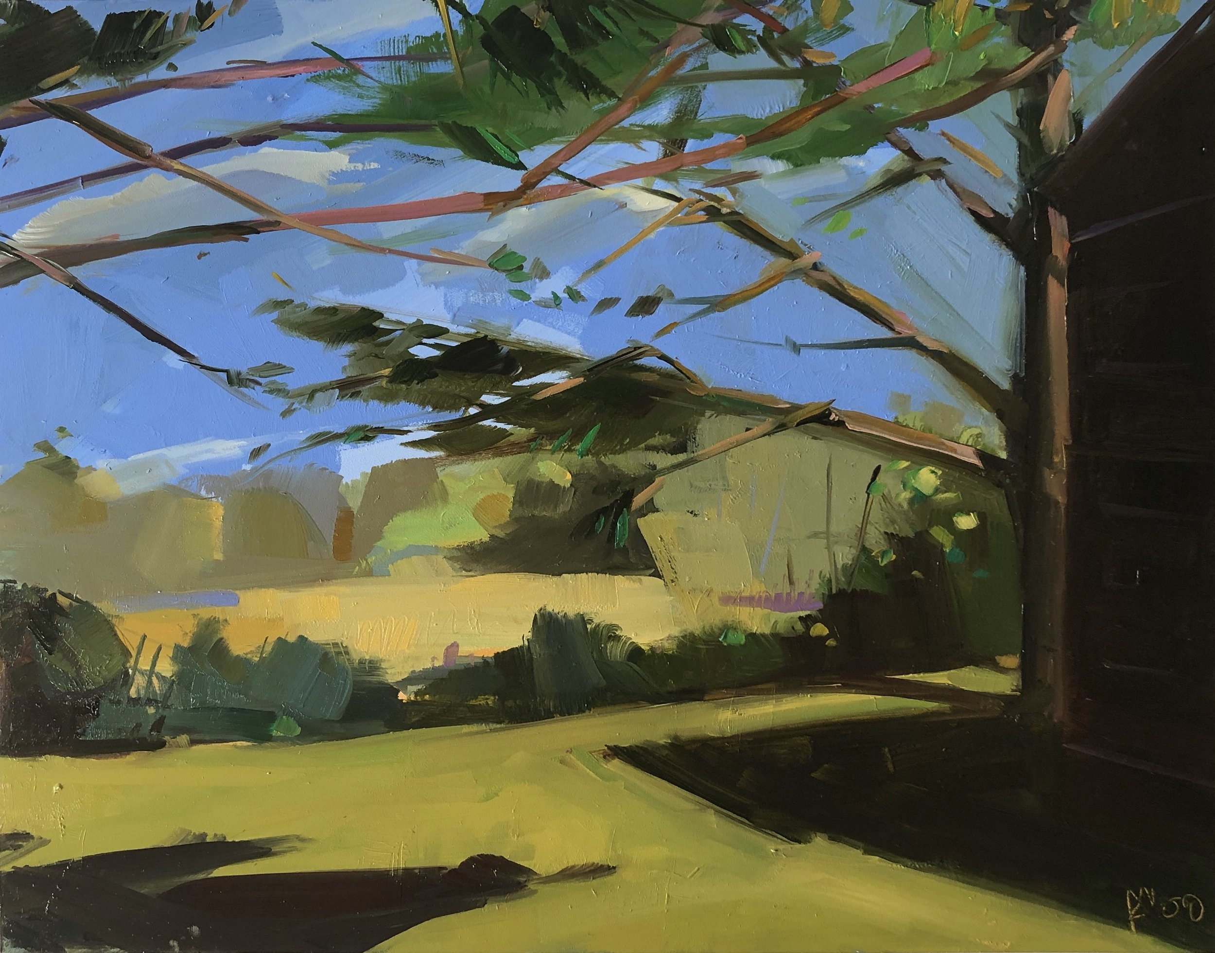 Somewhere out at Pease, 11 x 14, oil on panel.
