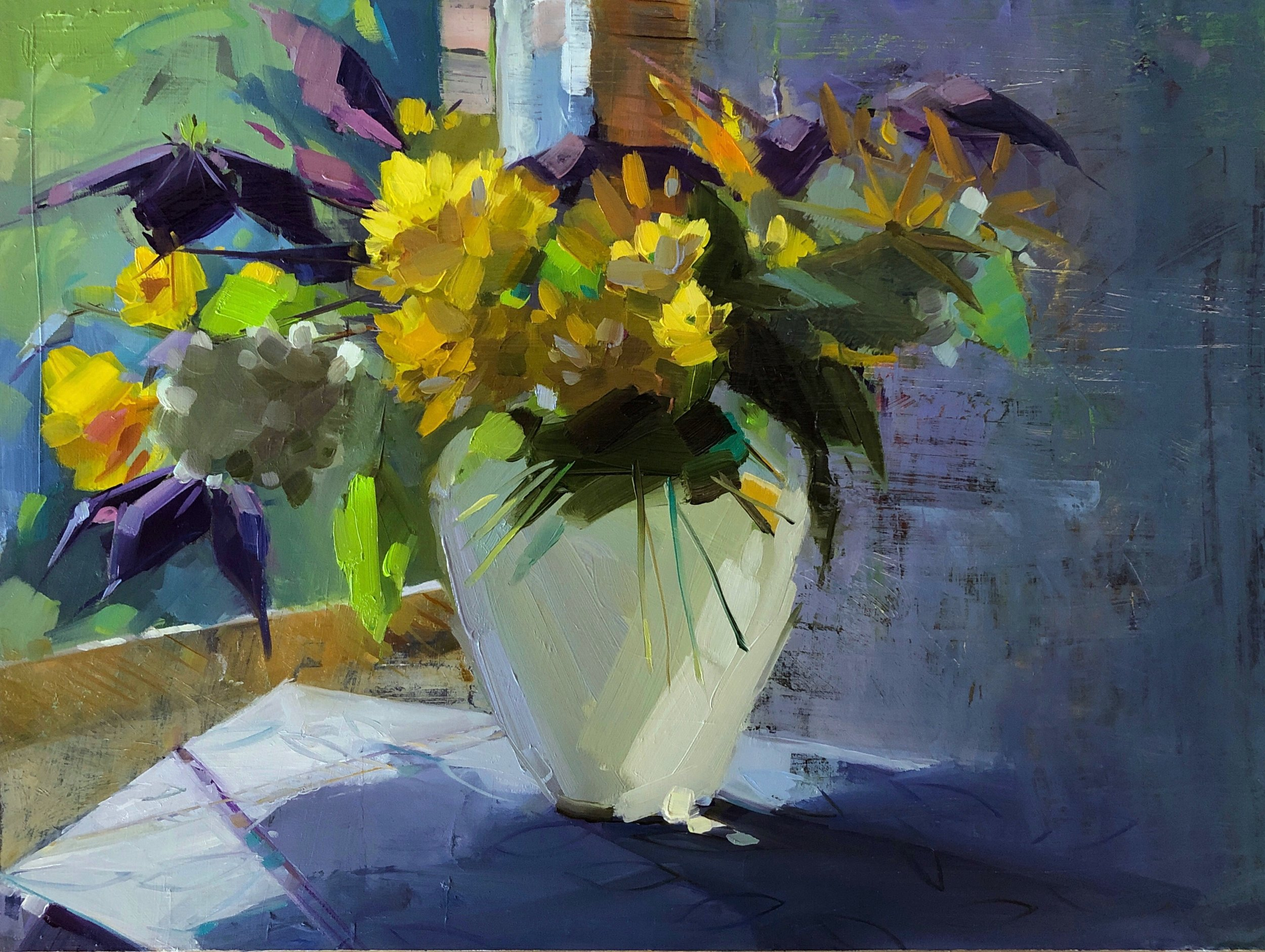 Clematis, Rudbeckia, Heliopsis. 12 x 16, oil on panel.