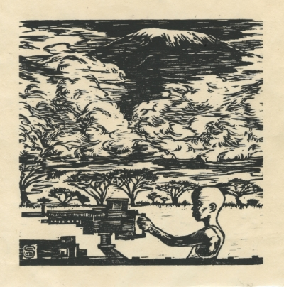 Original Hand pulled woodcut print on Japanese paper ; 6x6in Mount Kilimanjaro, for all the children who is killing or been killed in the war