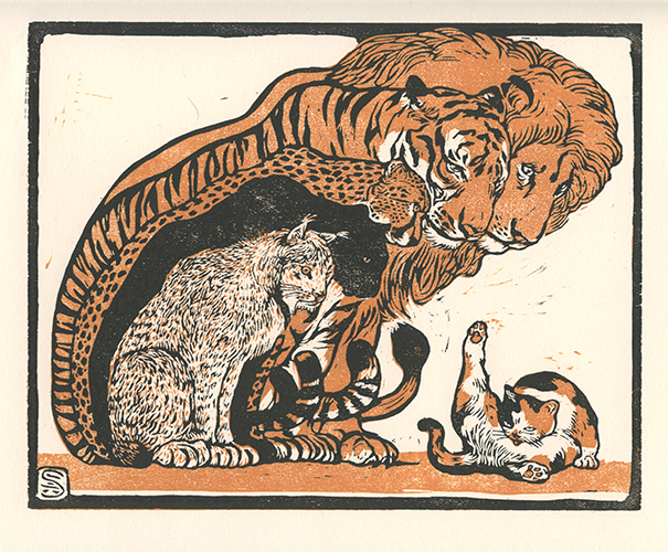Block print showing bigcats revering a common house cat.