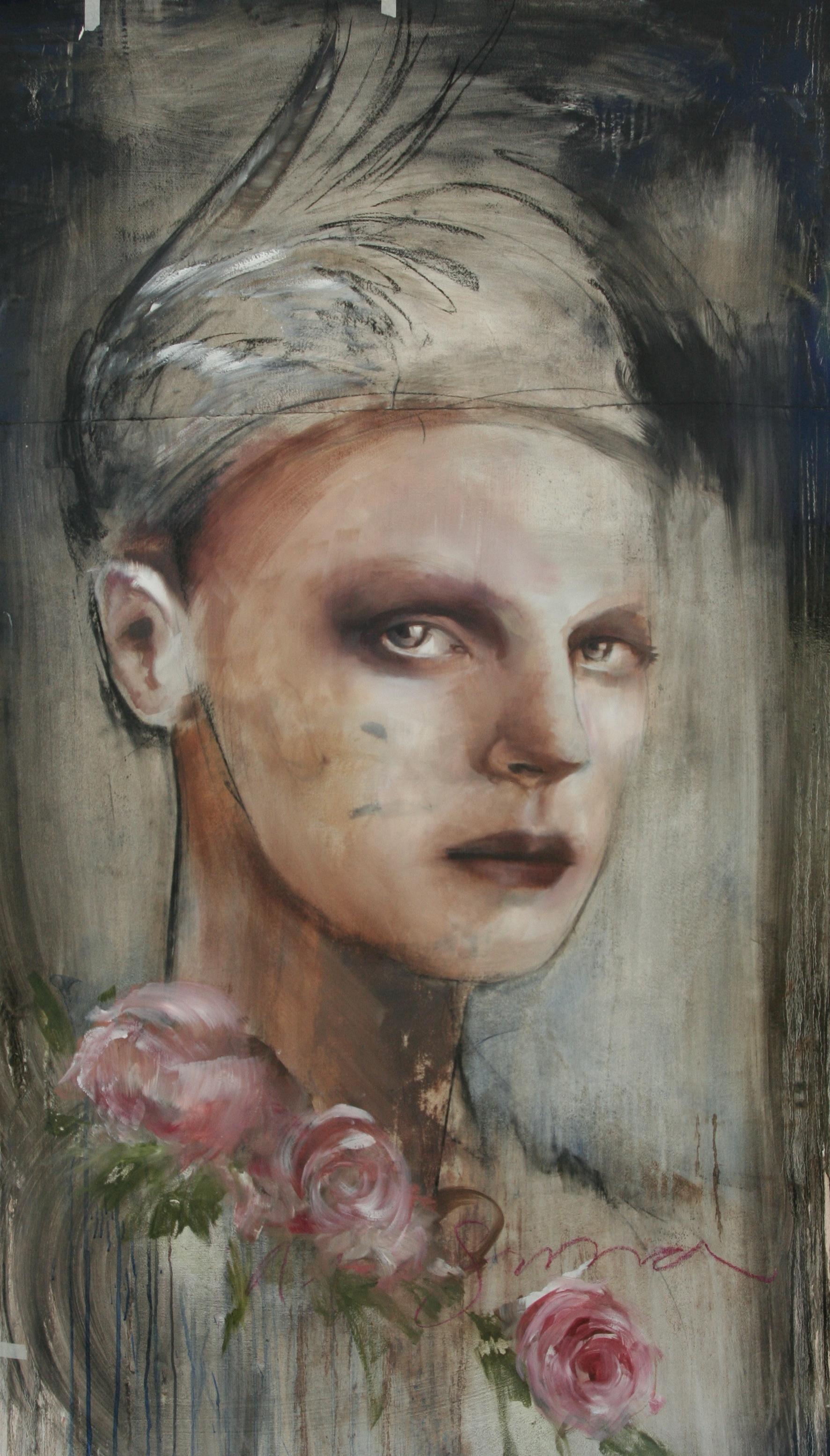 """Halosima 40""""x65"""" oil on arches watercolor paper 2012"""