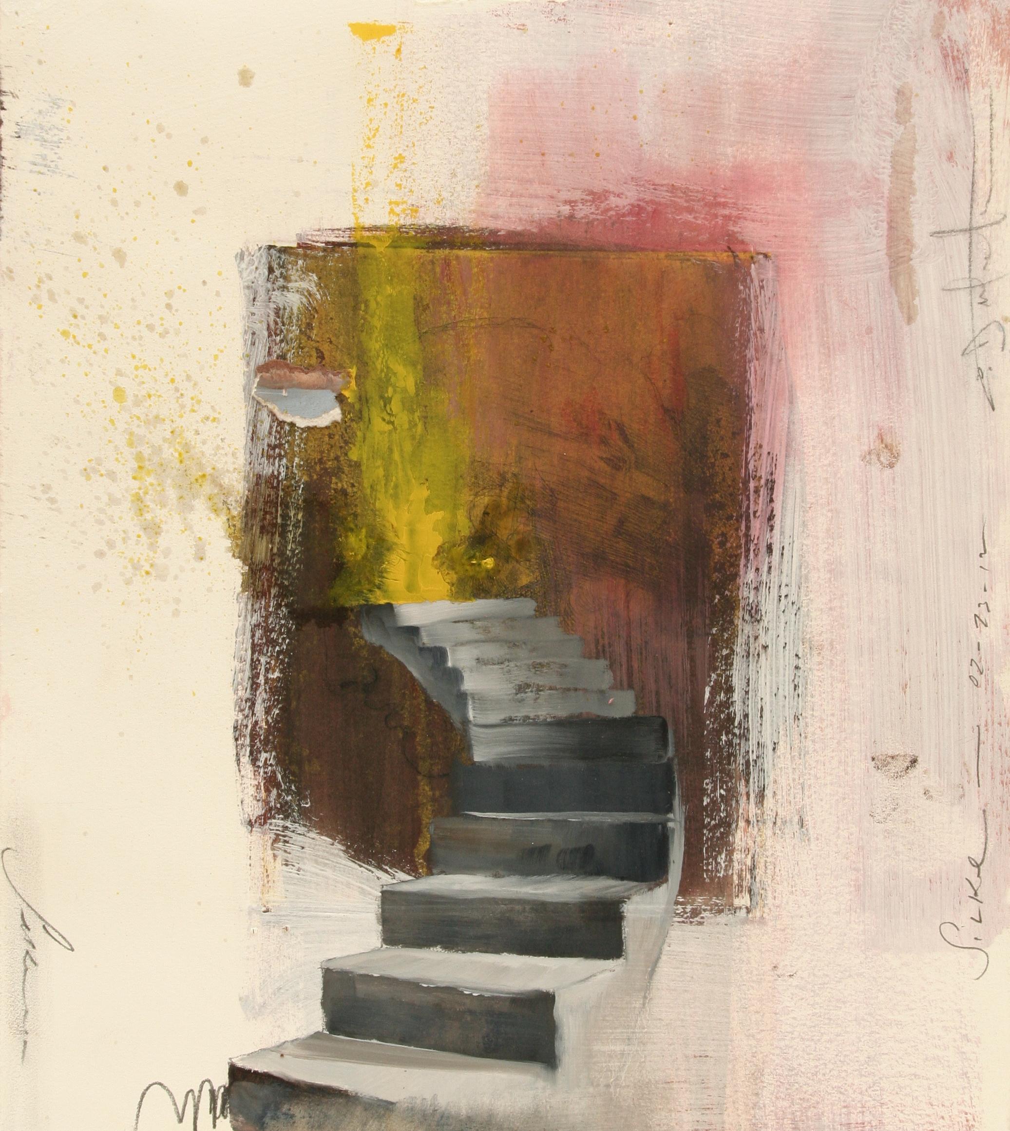 "Silke study oil, chalk, gesso over intaglio etching 12""x14"" 2012"
