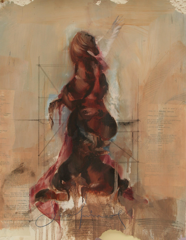 "Serafinos study oil, graphite, collage on stonehenge 15 1/2""x 20"" 2012"