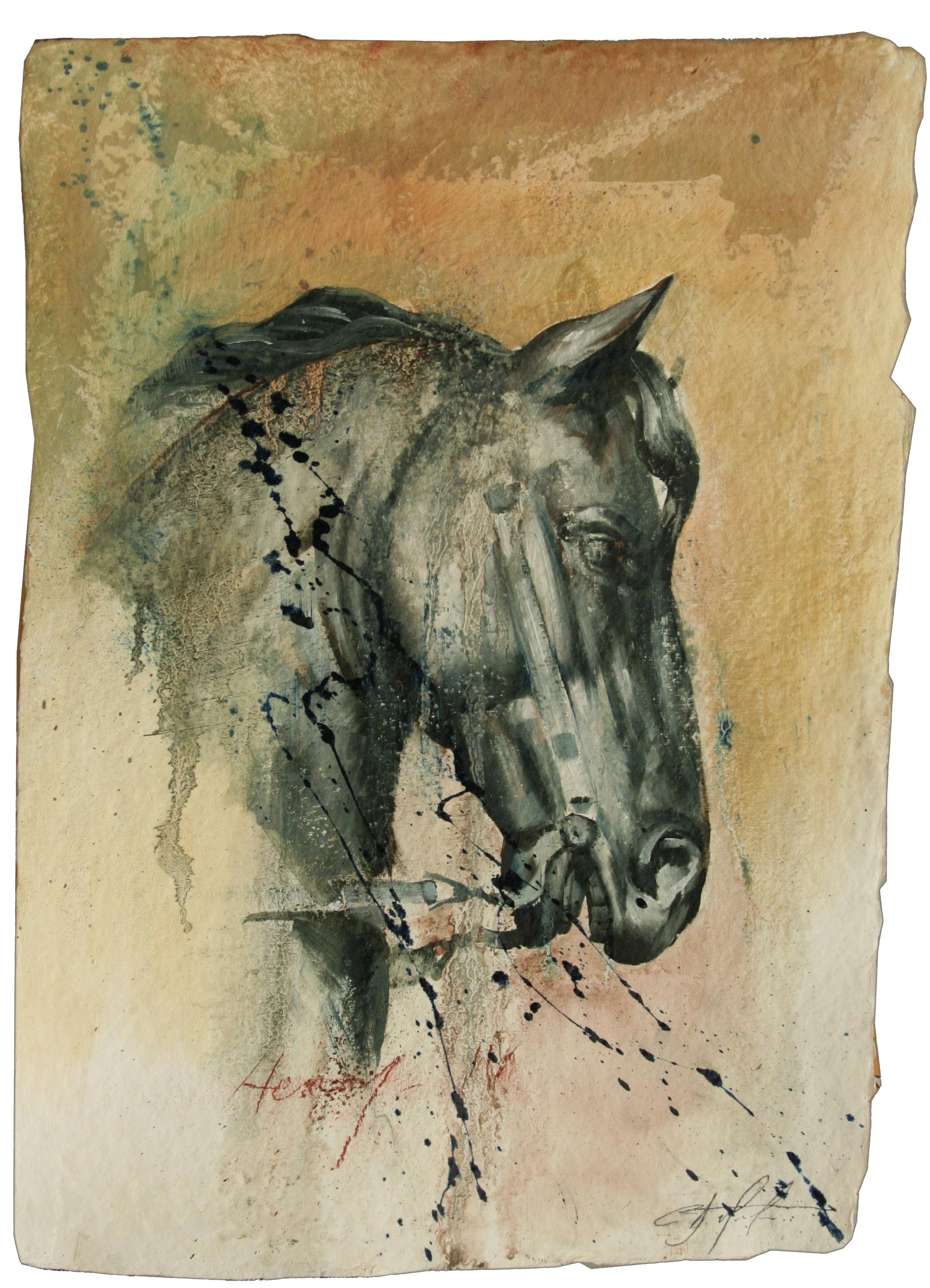 """Henry IV oil,chalk,graphite on handmade paper 14""""x20"""" 2011"""