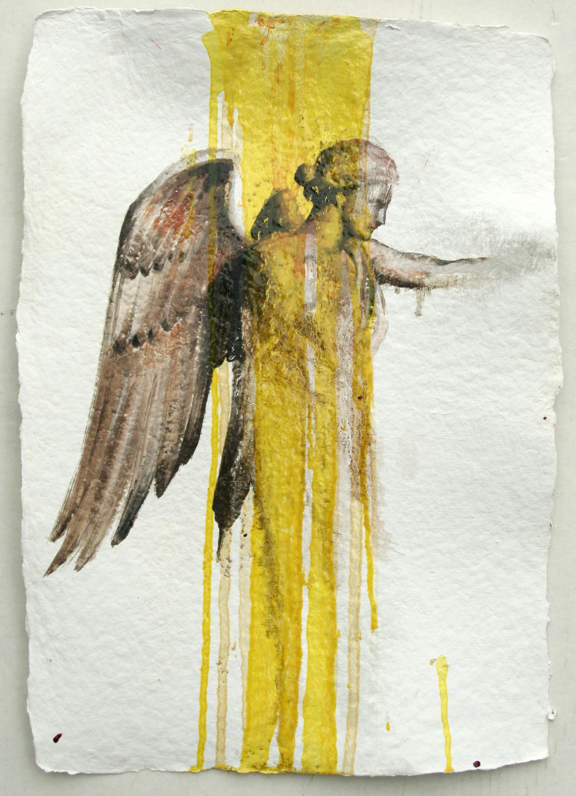 "Problem #9 oil,chalk,graphite on handmade paper 14""x20"" 2011"
