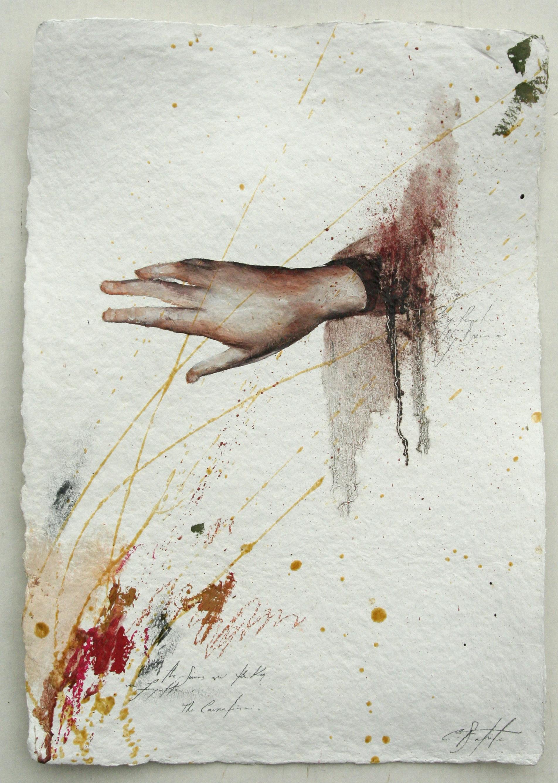 "Solution #3 oil,chalk,graphite on handmade paper 14""x20"" 2011"