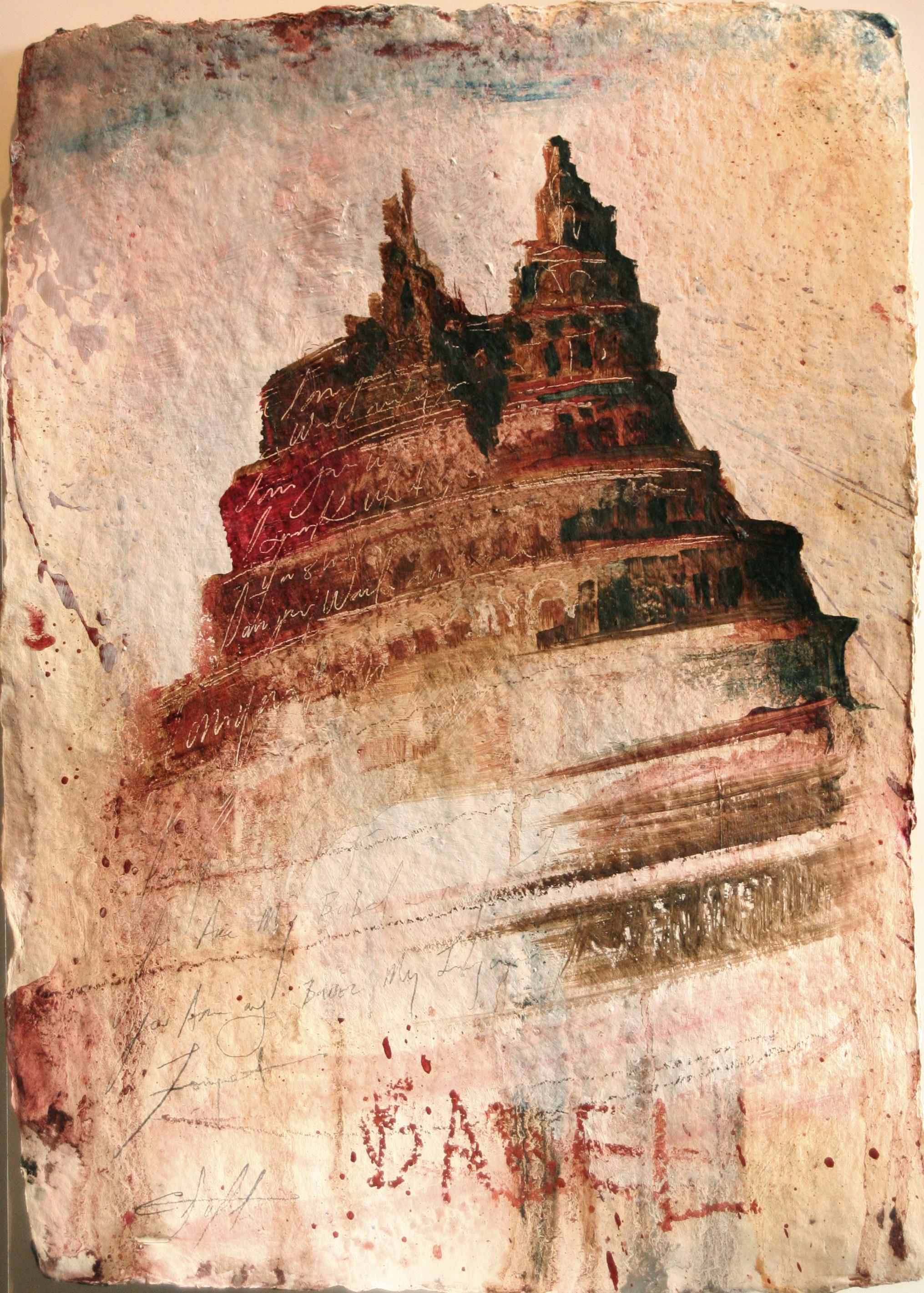 """Scrabbel oil,chalk,graphite on handmade paper 14""""x20"""" 2011"""