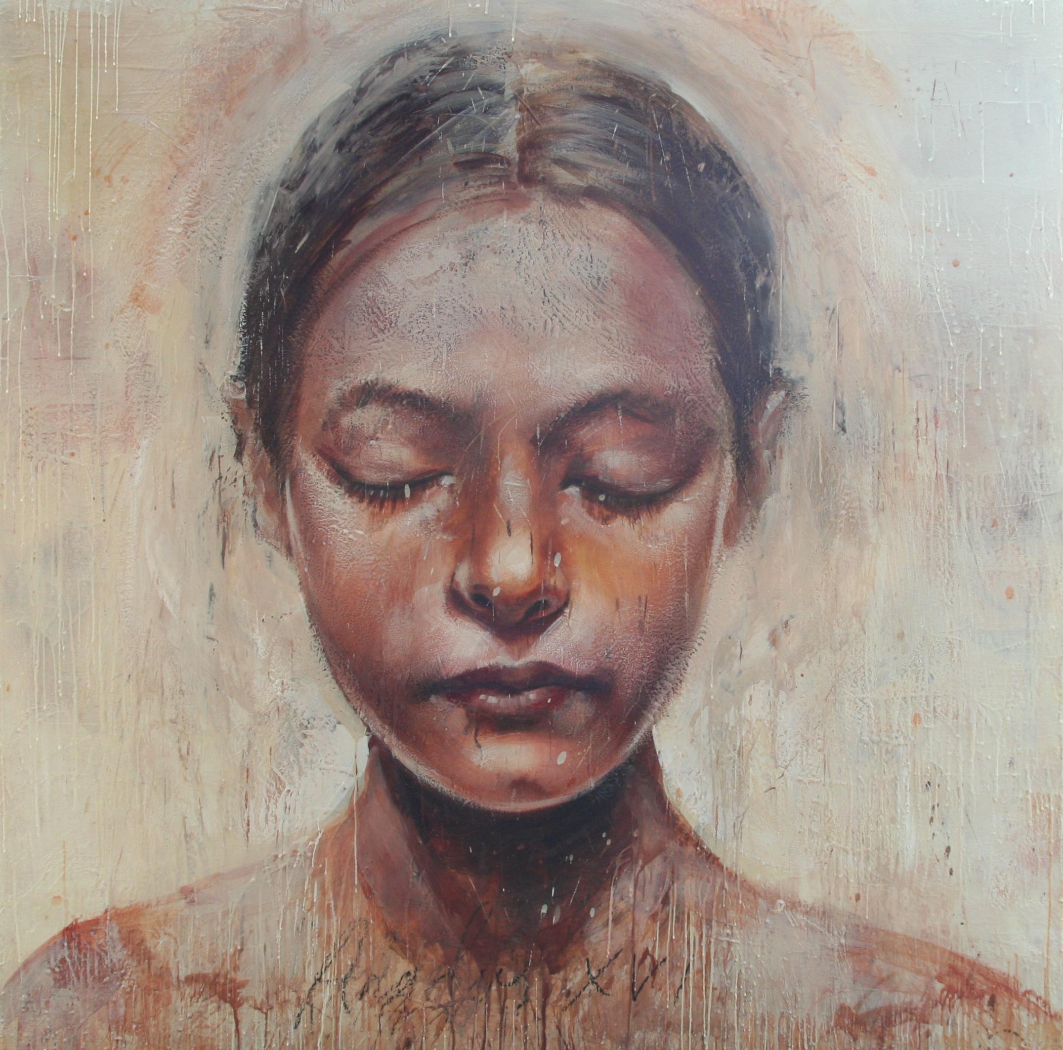 """Angel 16 encaustic on canvas/board 60""""x60"""" 2010"""