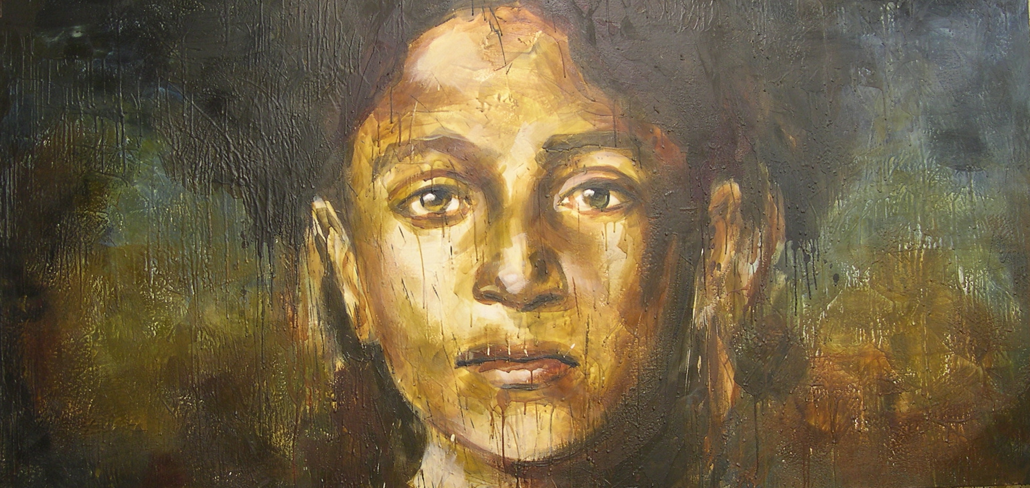 """Awaiting the empress 48""""x96"""" encaustic on canvas"""