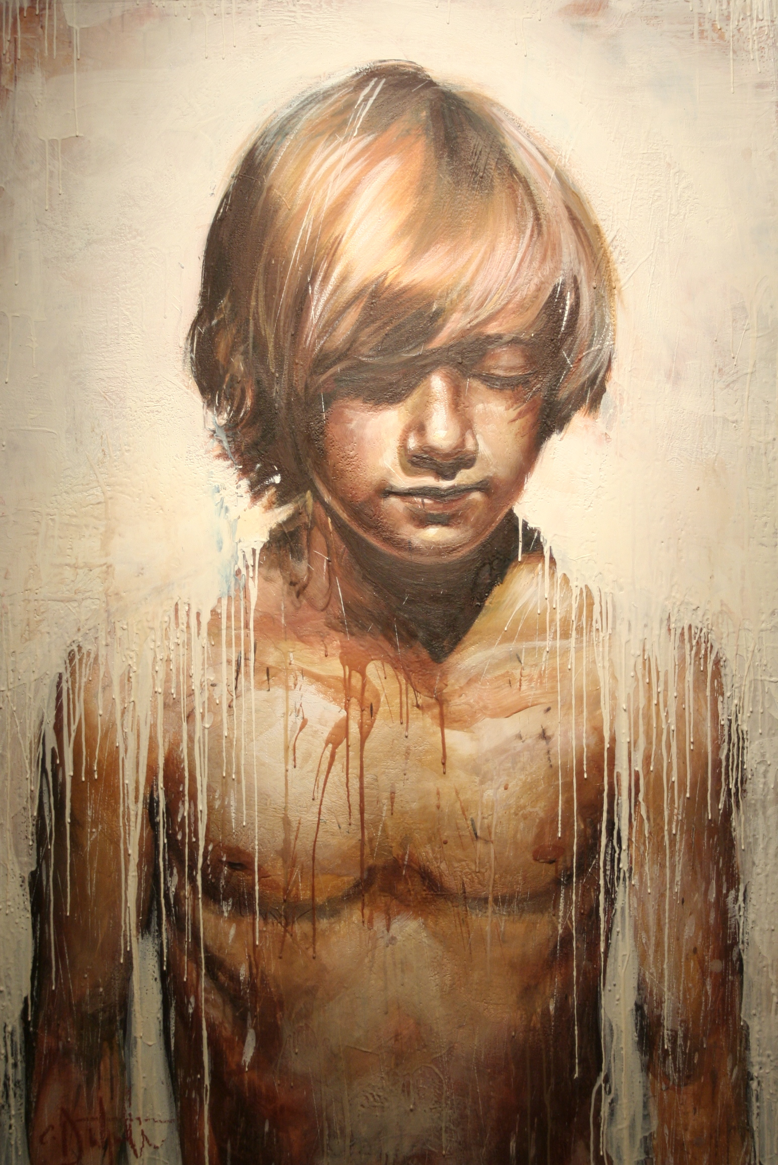 "Ninth Angel encaustic on canvas 40""x60"" 2009"