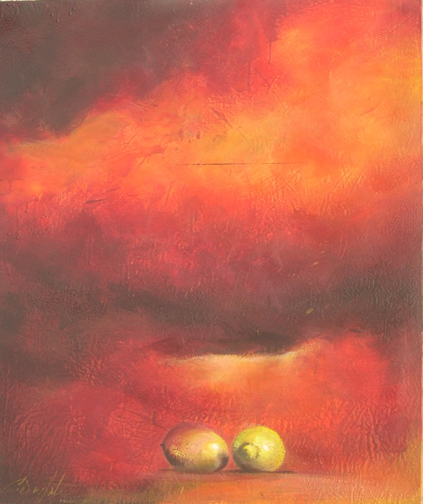 """Opposing forces beneath a storm front 36""""x48"""" encaustic on canvas"""