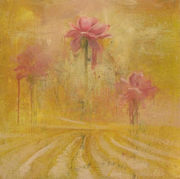 "Yellow memory 30""x30"" encaustic on canvas"