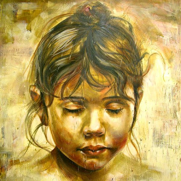 "Third angel 72""x72"" encaustic on canvas"
