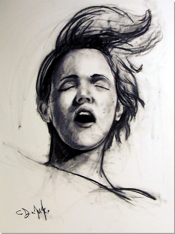 """She had a voice that was strong and loud  20""""x24""""charcoal on stonehenge"""