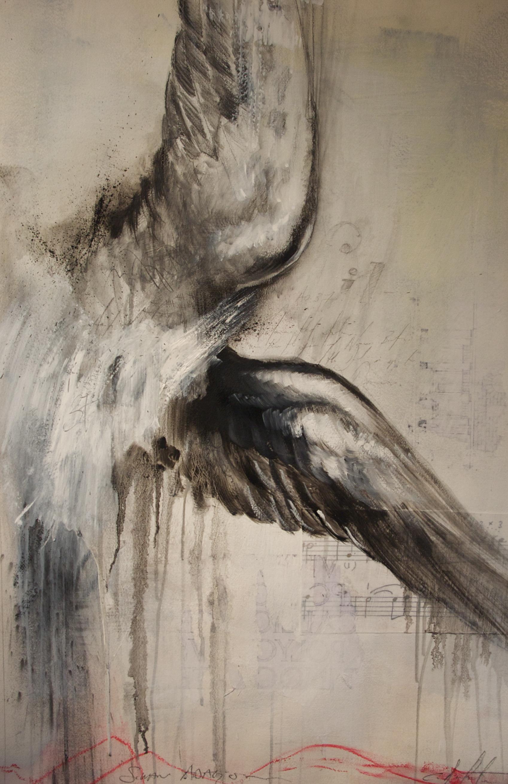 "Swan Adagio. mixed media on Paper 17.5""x29"" 2010"