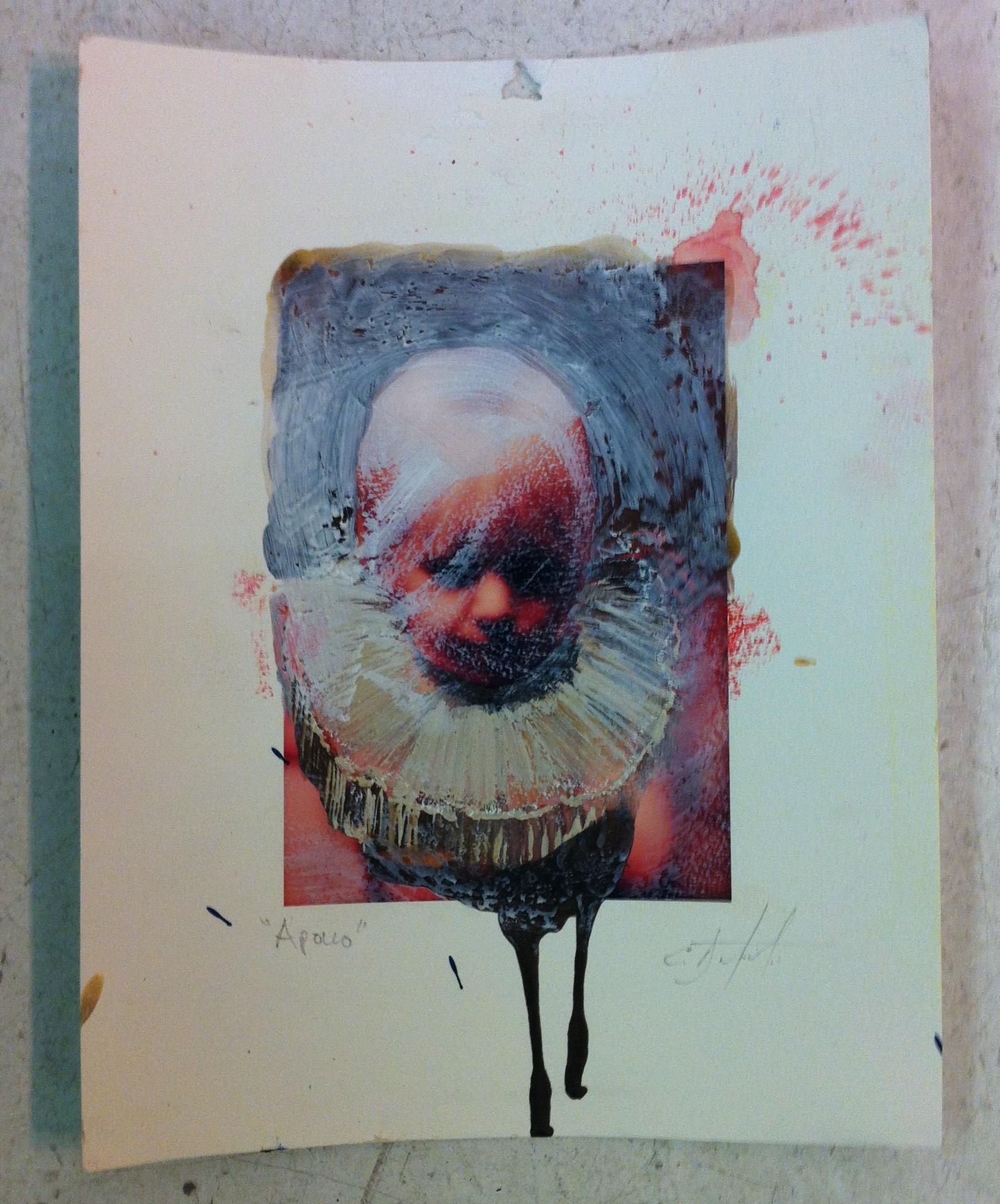 "Apollo encaustic, ink , graphite over inkjet 8""x10"" 2010"