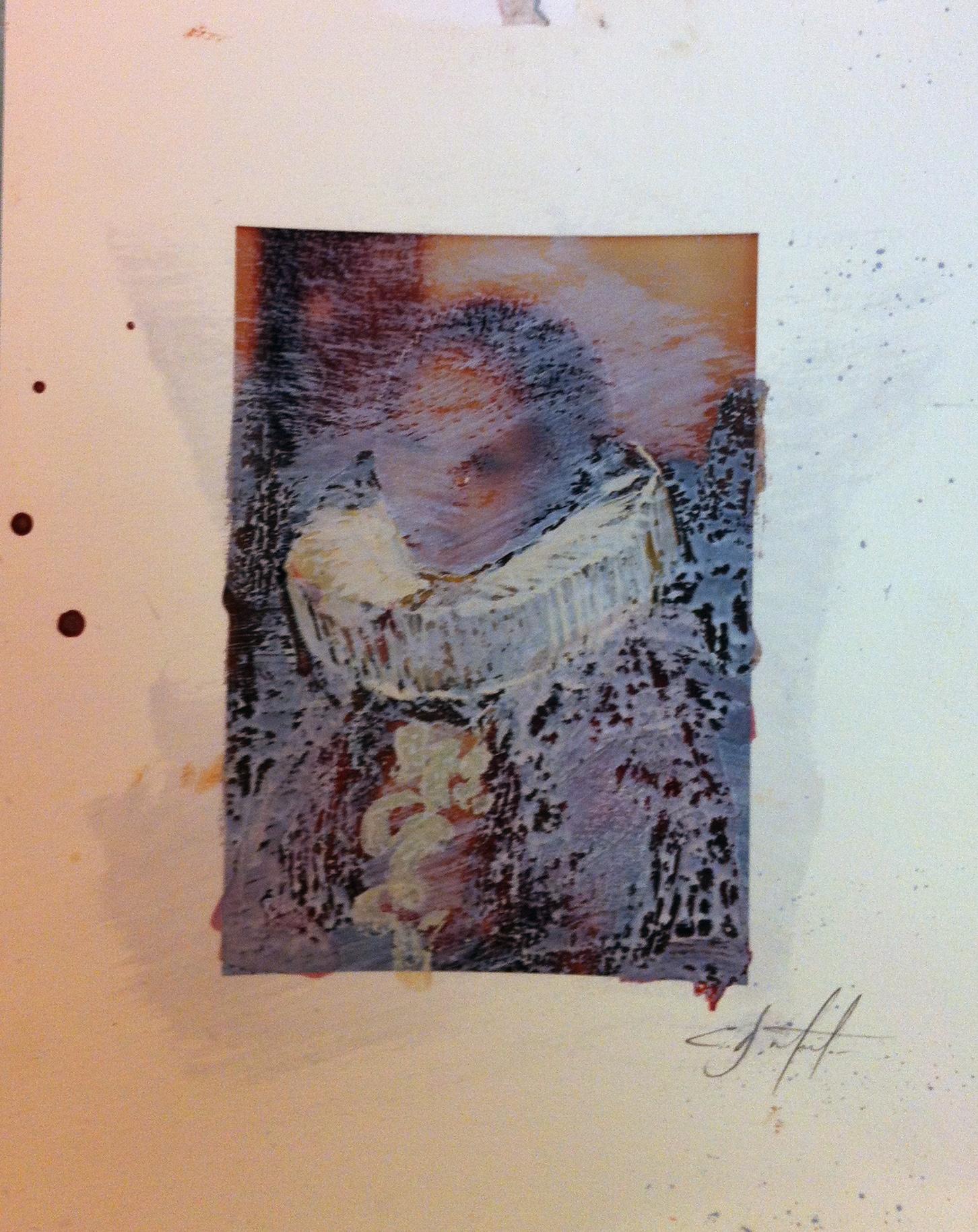 "Artemis encaustic, ink , graphite over inkjet 8""x10"" 2010"