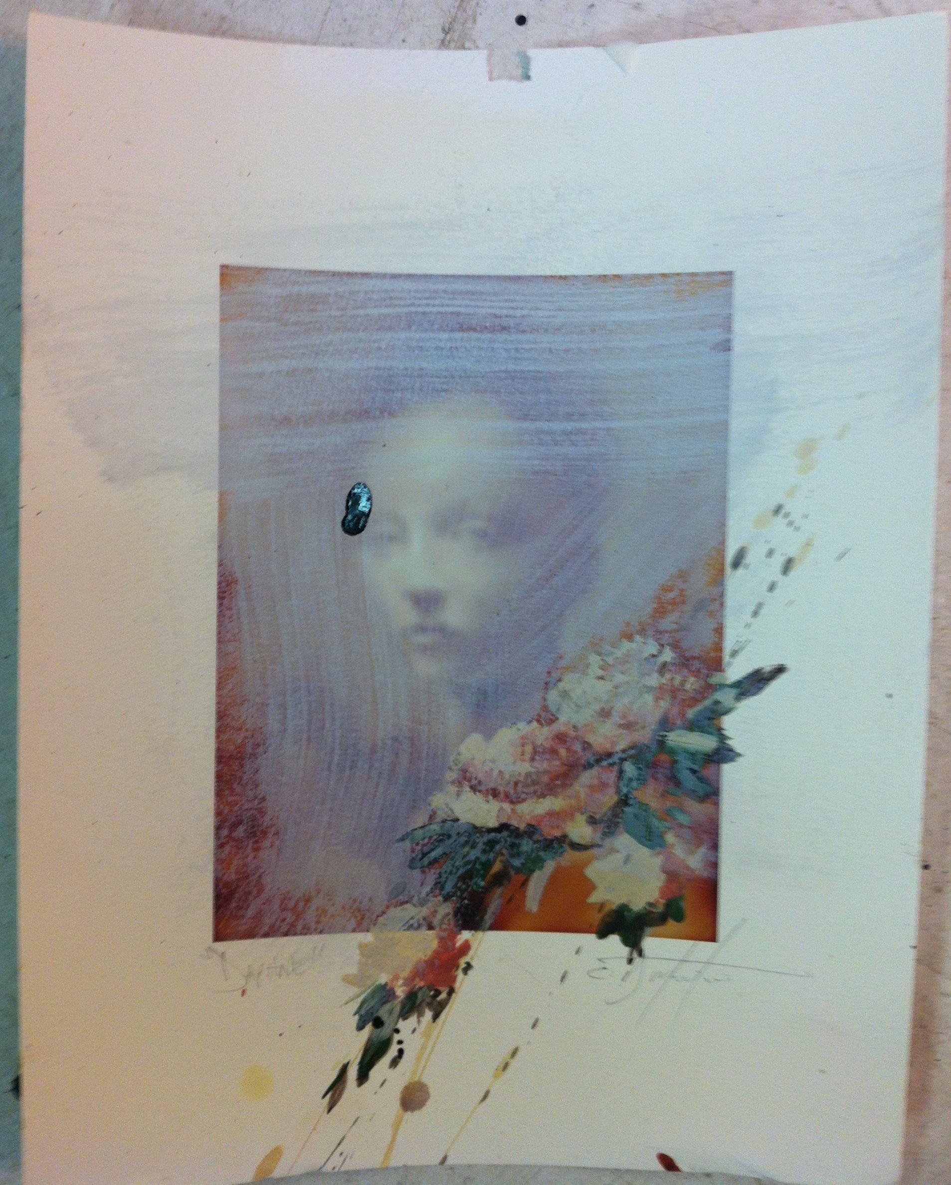"""Daphne encaustic, ink , graphite over inkjet 8""""x10"""" 2010"""