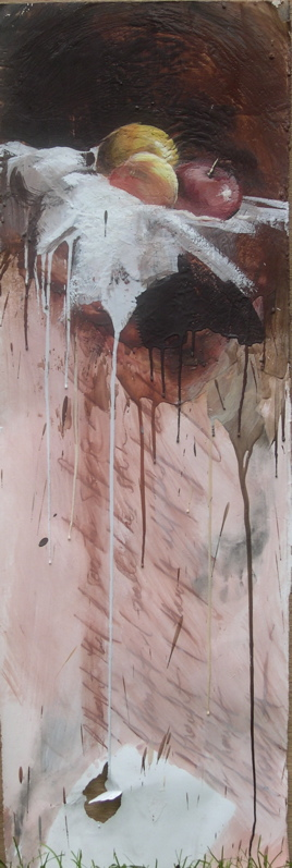 """The weight of our memories I encaustic/conte on stonehenge 13""""x40"""" 2009"""