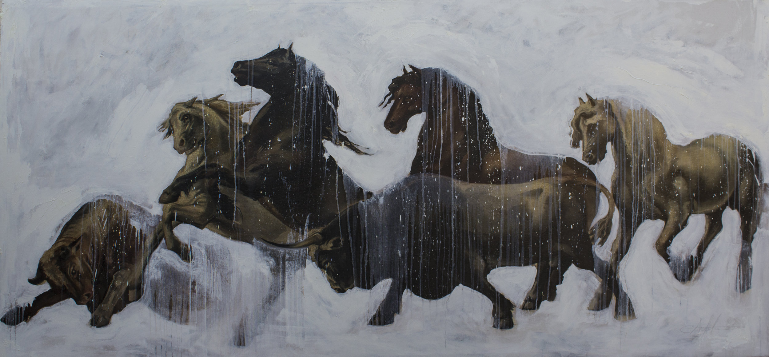 "Carousel    oil on canvas  96""x46""  2019"