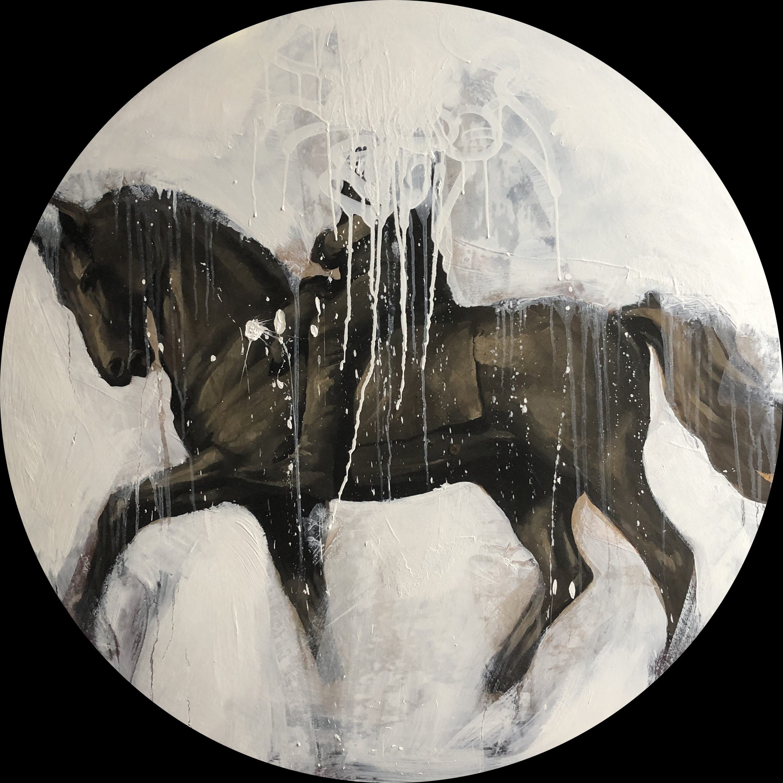 "Samsara   oil on board  36""diameter  2019"