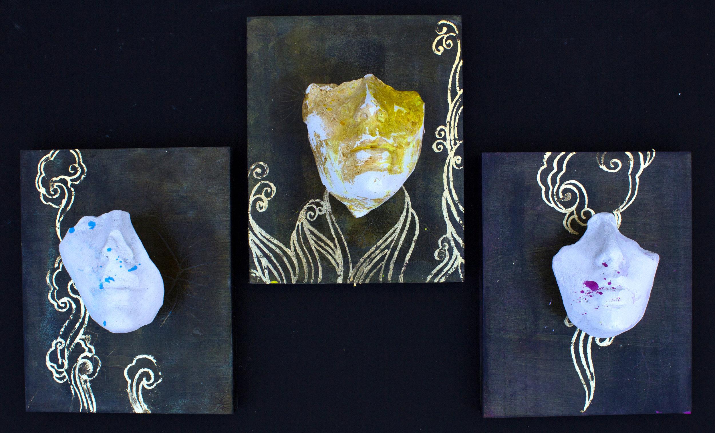 "Three Graces   plaster of paris/ gold leaf   3 pieces 8""x10""  2019"