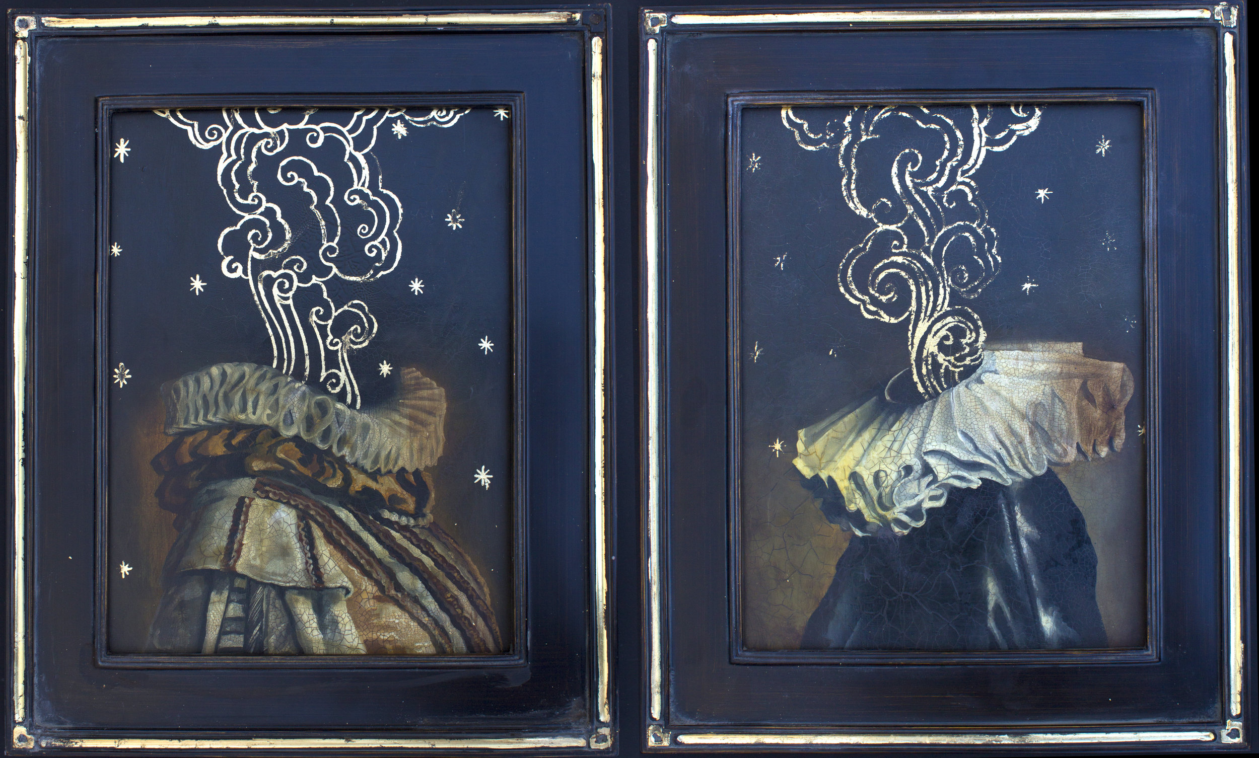 "A dreamer and her Lover   oil/gold leaf on board  2 pieces 12""x16"" each  2019"