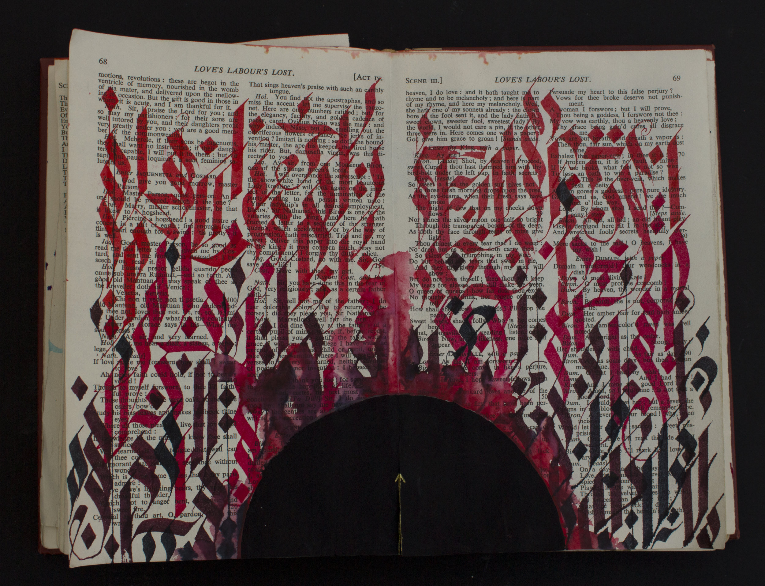 "Loves labours lost   ink/acrylic/gold paint on found book  12""x8.5""  2019"