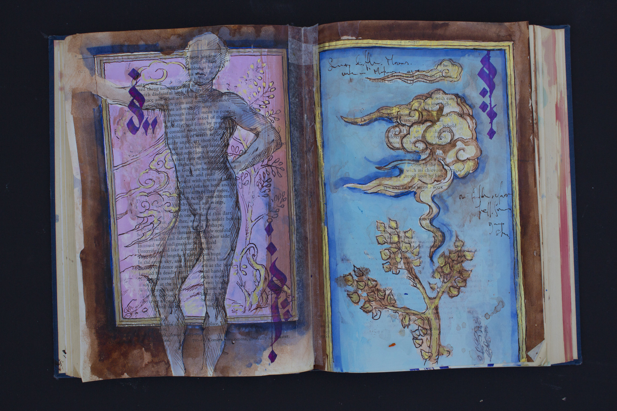"""Paradise Lost   ink/acrylic/gold paint on found book  15""""x10""""  2019"""