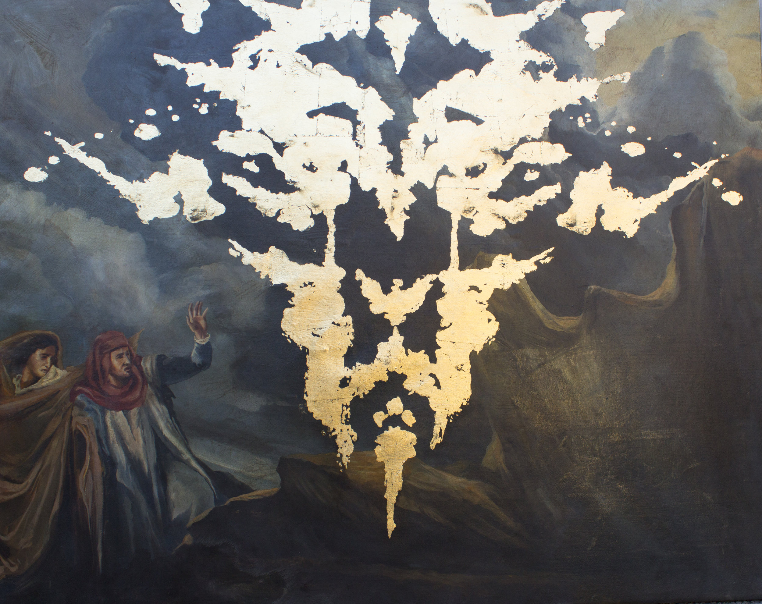 "Where is my mind  (after Delacroix)  oil/gold leaf on canvas  60""x48""  2019"