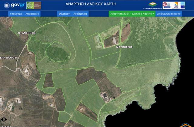 Δασικός χάρτης χωρίς τη Μονή του Αγ. Αντωνίου