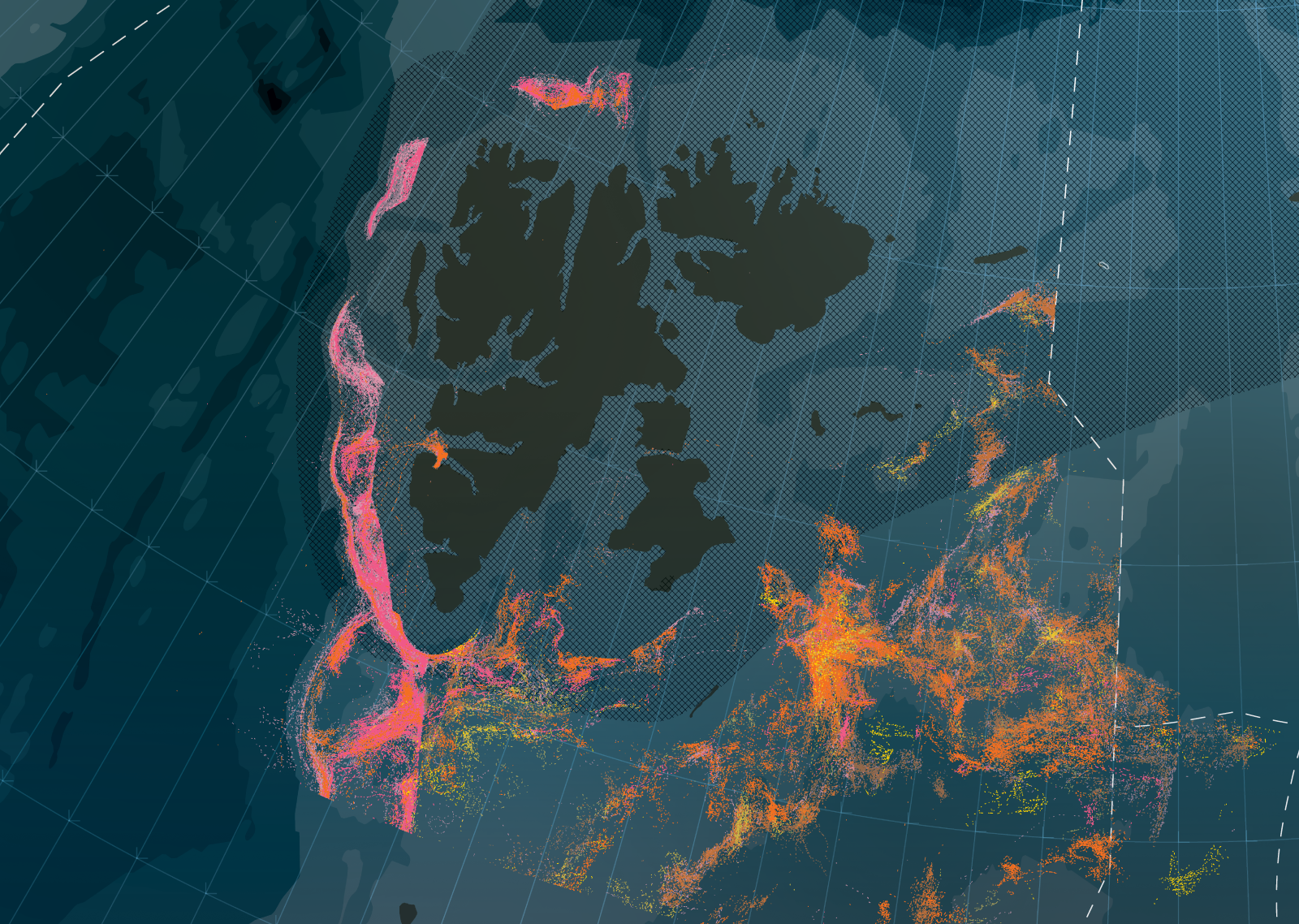 Mapping the movements of three trawler fleets, Haviske, FUIN and Ocean Trawlers around Svalbard in three years to 2015.