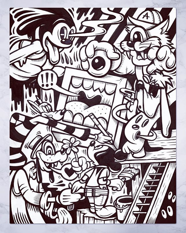 "Drew this new piece last night for the monthly Drink and Doodle event at our gallery (@abvgallery). Thanks to all the collectors who came out.✌️🙏 Always a good time hanging and creating... - 8.5"" x 11"". Pen and Ink on Paper (Sold) - #gregmike #larryloudmouf #penandink #abvgallery #drinkanddoodle #art #greyscale #drawing #doodle #blackandwhite #contemporaryart #newcontemporary #ink #marker #weloveatl #outlines #linework"