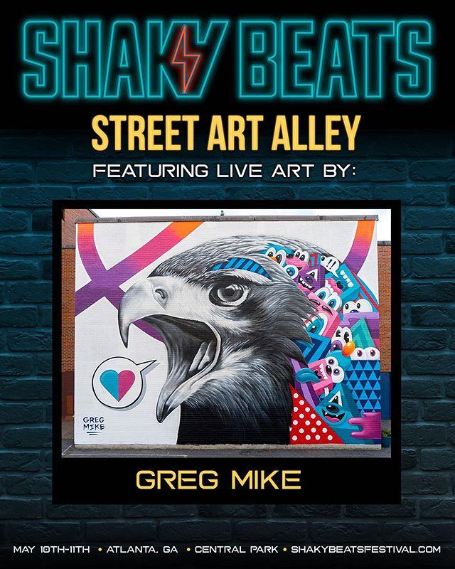 (ATL!) Painting Live at @shakybeats Festival in Atlanta today. ⚡️⚡️. - gregmike #larryloudmouf #shakybeats #shakybeastfestival #weloveatl