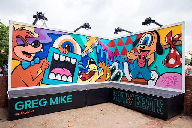 Finished shots of the installation I painted live this weekend at @shakybeats festival in the ATL.  Great times rocking on this one.. - 8ft x 28ft, Spray Paint on Wood Panel Email info@abvatl.com for all inquires. - Photos: @dvphotovideo - Also, Congrats to @Daamrah for winning the Shaky Beats print release contest.  @abvgallery will DM to get your information to send you a print. - #gregmike #larryloudmouf #shakybeats #shakybeatsfestival #liveart #painting #art #mural #weloveatl #atlanta #musicfestival #artinstallation #shakybeats2019 #spraypaint #montanacans