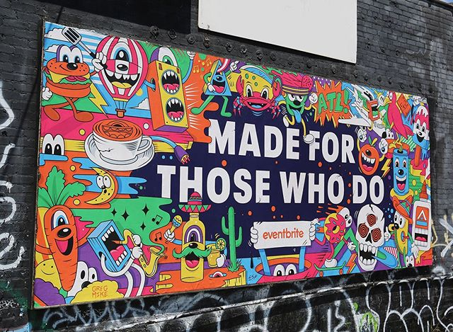 "I collaborated with @Eventbrite on this #madeforthosewhodo piece that just went up in Little 5 Points in ATL. Fun project where I took inspiration from all the events in the city they put on. My favorite of the bunch to bring to life was the ""learn to sword fight"" class which I mixed with the ""Southeast Crabfest"", because obviously all crabs should know how to sword fight.. 🦀⚔️ 🎫. - Swipe 👈 for detail shots of the piece. - #gregmike #larryloudmouf #design #illustration #art #atl #weloveatl #color #billboard #dowhatyoudo"