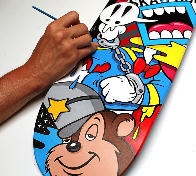 """Putting the final touches on my skate deck for the @abvgallery """"Decked Out"""" Show which opens tonight in ATL.🛹 30 Artists painted decks for the show.Come out tonight to see all the new pieces. (6-10 PM) - In partnership with @ambushskateboarding - Email 📧 info@abvatl.com for an exhibition catalogue. - RSVP link on the @abvgallery bio for entry. - #gregmike #larryloudmouf #skatedeck #art #skateboarding #exhibition #wip #newcontemporary #urbancontemporary #abvgallery #painting"""