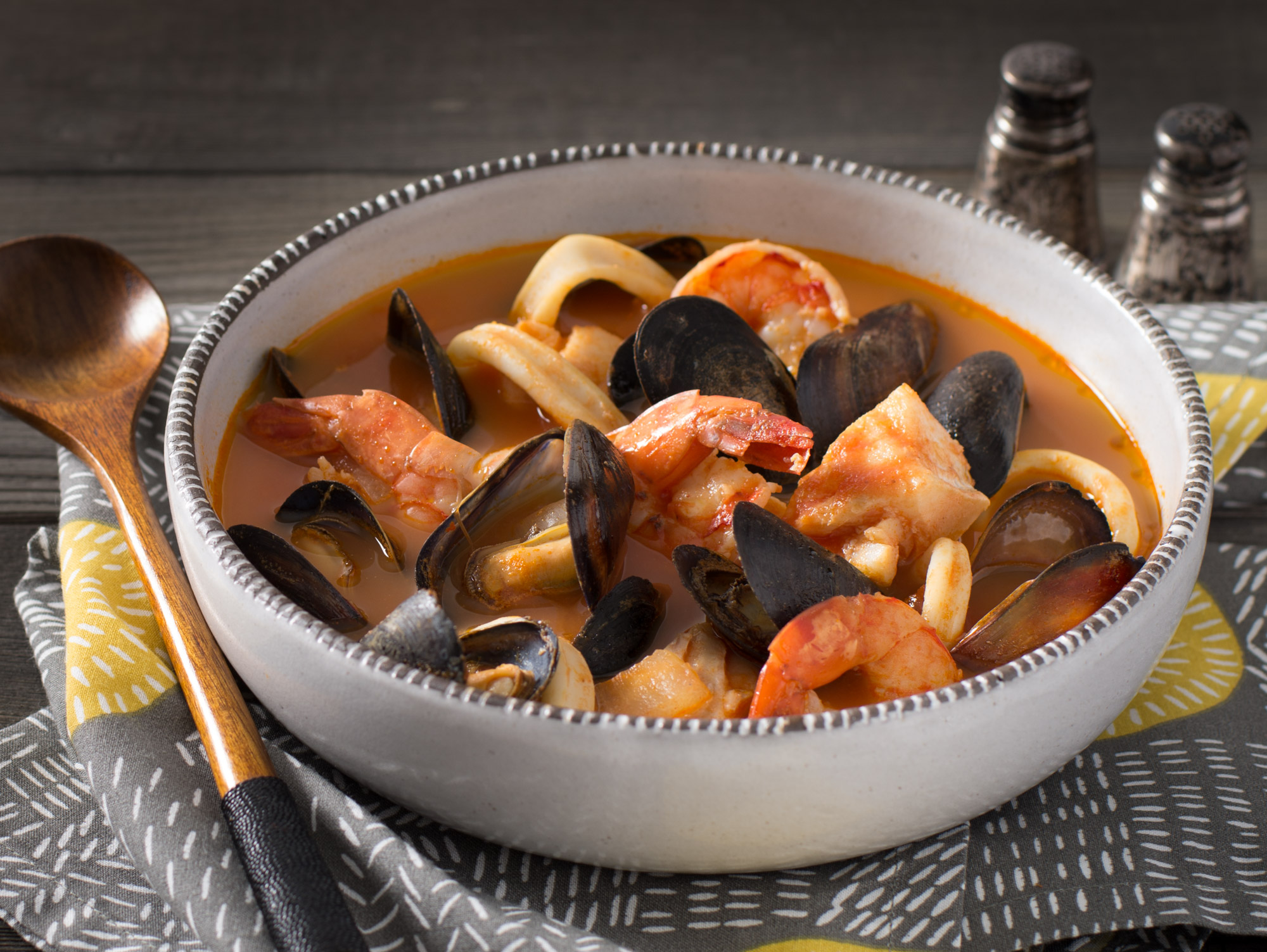 Seafood stew with mussels, calamari and shrimp