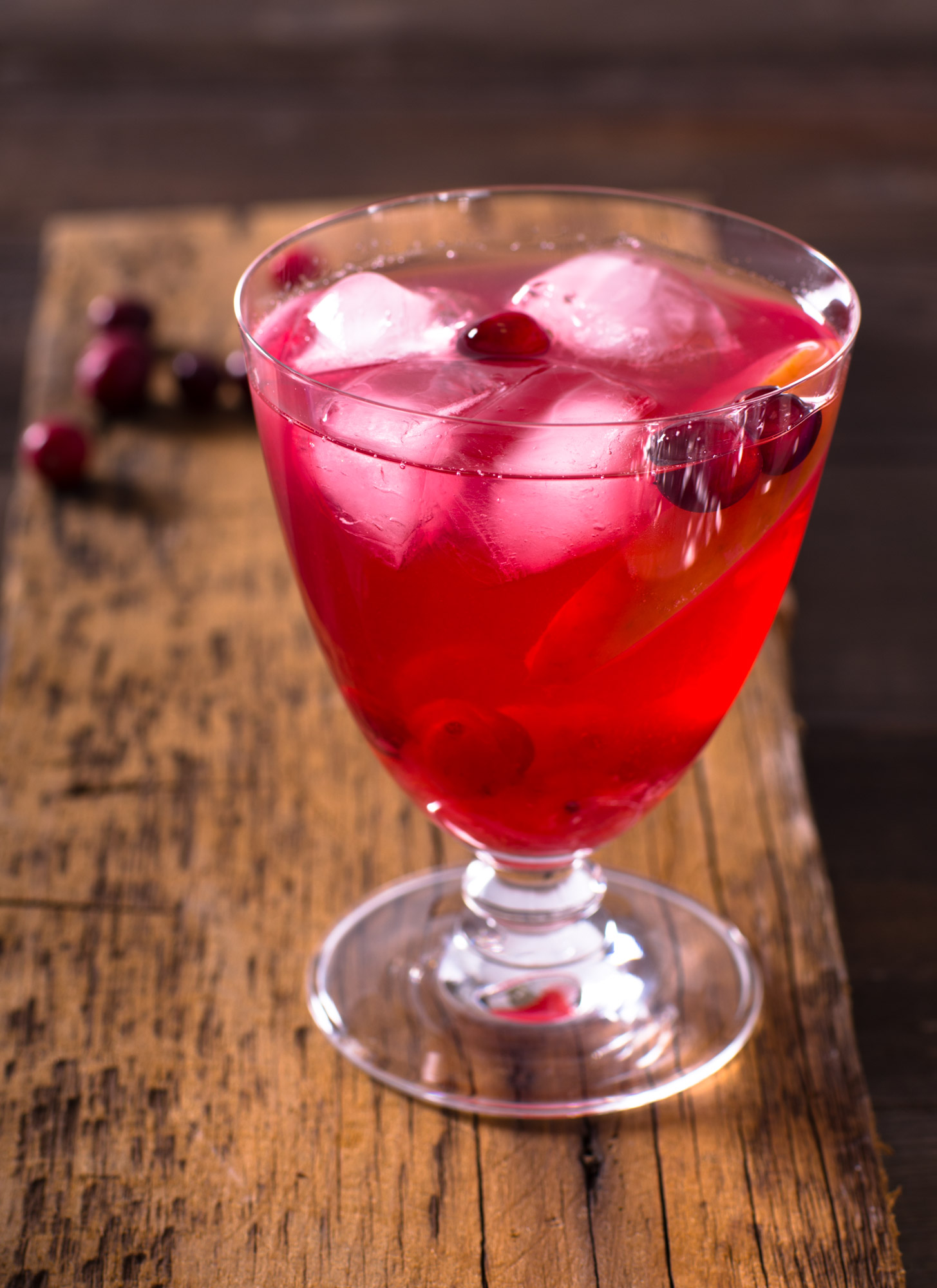 Cranberry Fruit punch on aged wood